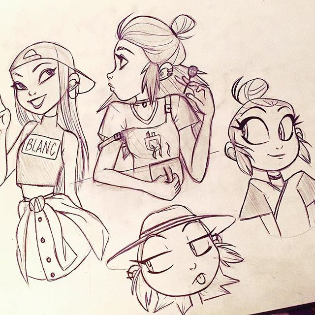 Happy Easter everyone! have some sketches ☺️ #angiensca #characterdesign #girls…