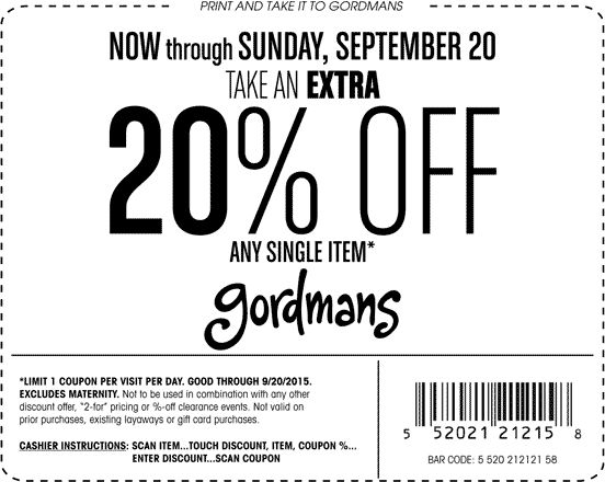Pinned September 12th: 20% off a single item at #Gordmans ditto online #coupon via The #Coupons App