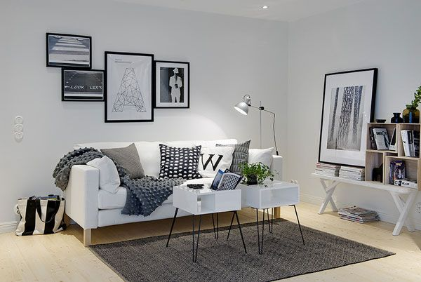 Living Room Front Area Comfy Small Apartment Exhaling Brightness in Gothenburg, Sweden