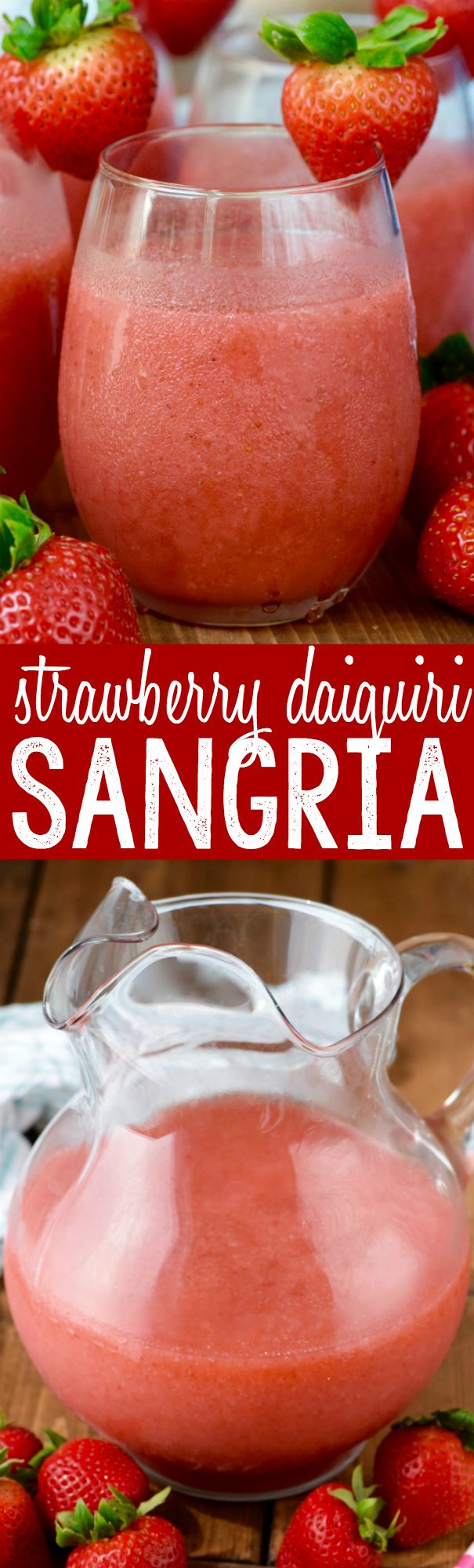 This Strawberry Daiquiri Sangria is super easy to make, no crazy ingredients, and is awesome for a party!  You just might want to triple it, because it will go FAST!