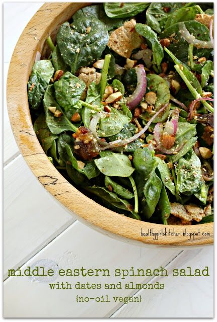 83 best no oil vegan recipes im making over and over images on veganrecipecollection via healthy girls kitchen middle eastern spinach salad with dates and almonds find this pin and more on no oil vegan recipes forumfinder Choice Image
