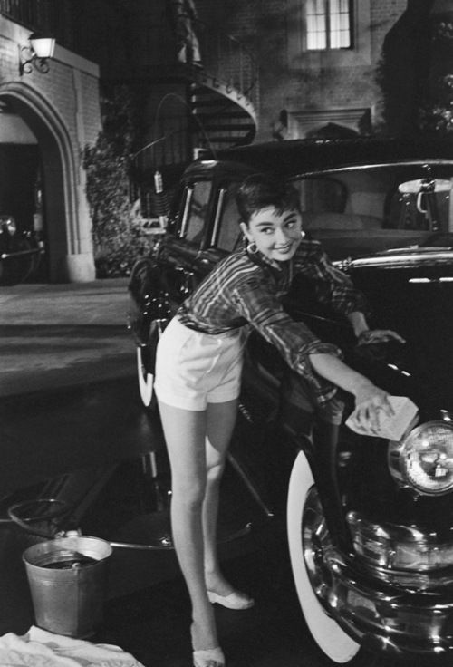 Audrey Hepburn on the set of 'Sabrina', 1953. Photo by Mark Shaw