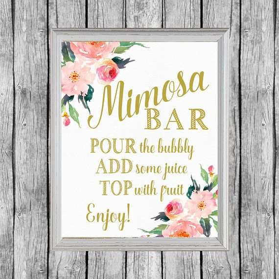 Mimosa Bar Sign. Bridal Shower Mimosa Bar Printable. Bridal Shower Mimosa Bar Sign. Printable Bridal Shower Decor. Instant Download