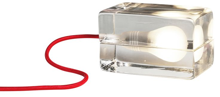 Block Lamp with Red Cord by Harri Koskinen