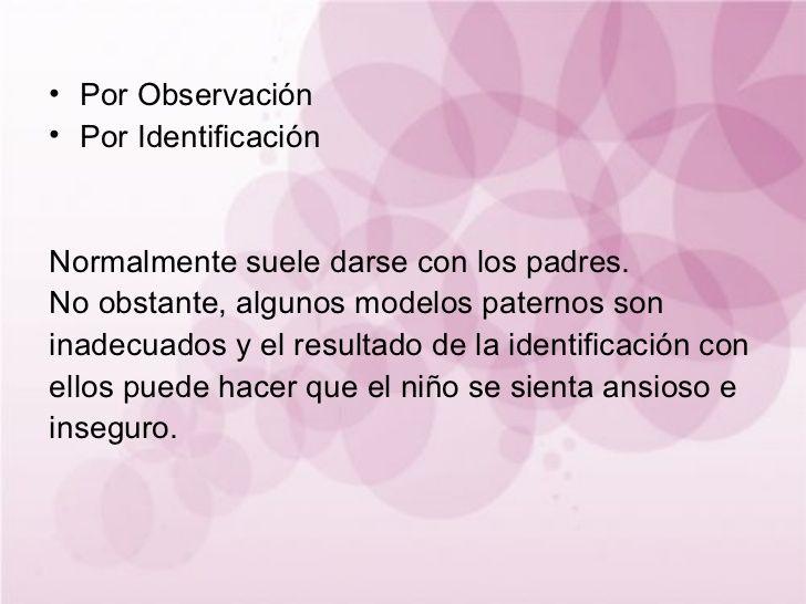 Por Observación Por Identificación Normalmente suele darse con los padres.