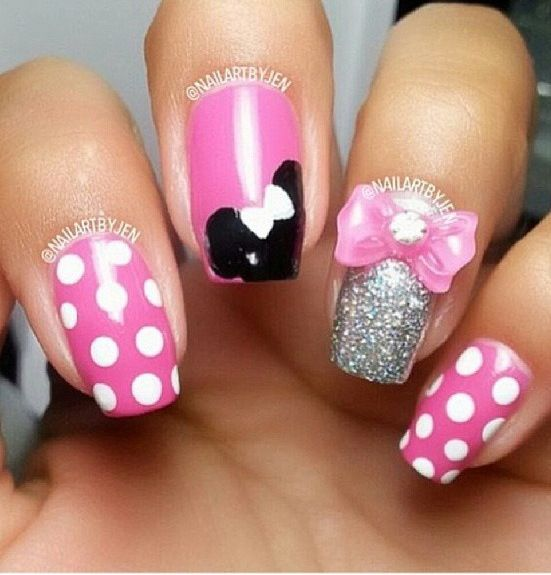 Minnie Mouse Bow Nail Art 17 Best images about M...