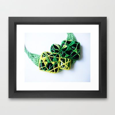 Green Lace and  Glass Necklace Fine Art  Photography  Framed Art Print by BaleaRaitzART - $56.00