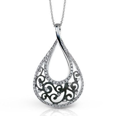 Simon G. 18K White Gold Vintage Style Diamond Tear Drop Pendant · DP164 · Ben Garelick Jewelers