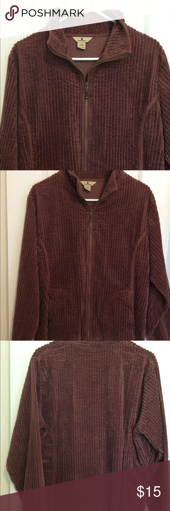 Women's L Woolrich jacket Woolrich large, burgundy, corduroy, zip up jacket. This jacket is forgiving and comfortable, while still looking gooooddd!! Woolrich Jackets & Coats