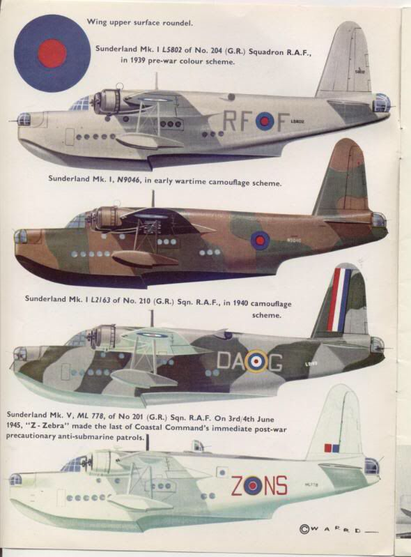 1938-1959 Short S.25 Sunderland. Flying Boat Bomber. RAF, RNZAF, RAAF, FN. Engine: 4 x Bristol Pegasus XVIII nine cylinder radial engines (1,065 hp) Armament: 16 x .303 Browning machine guns, 2 x .5 in machine guns. Max speed: 210 mph (336 km/h)
