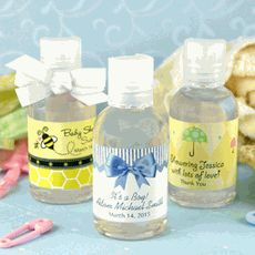 Baby Shower Hand Sanitizer Favors with personalized labels from www.mybabyshowerfavors.com