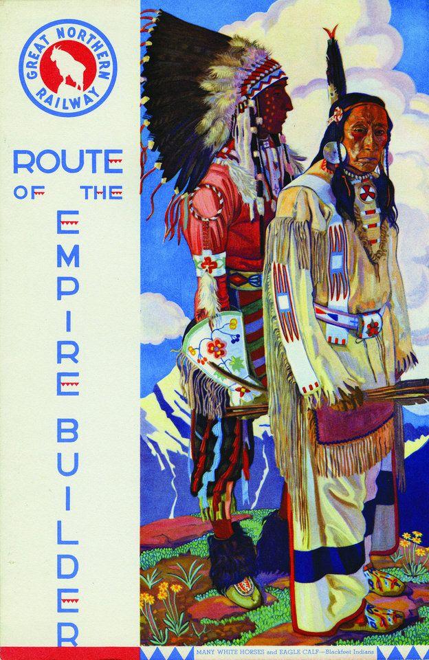 Great Northern Railroad, Route of the Empire Builder. Railroad Advertisement Calendar Glacier Park Travel Native American Art Railroad Railway Line Route Vintage