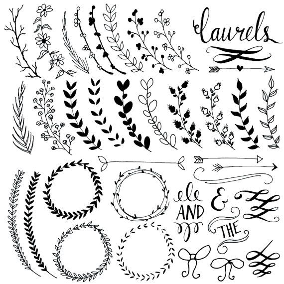 ... Boarder, Clip Art, Wreaths Clip, Hand Drawn, Laurels Wreaths