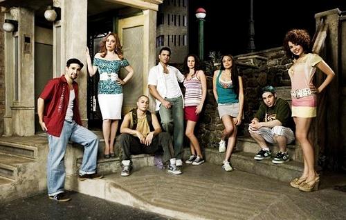 In The Heights OBC~Usnavi, Daniela, Grafitti Pete, Benny, Nina, Vanessa, Sonny & Carla.