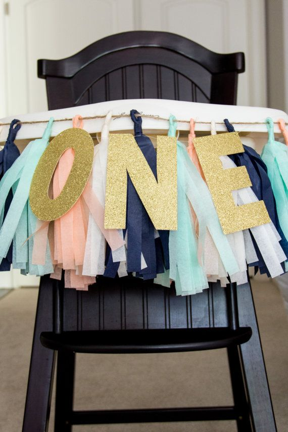 High Chair Banner || Peach and Mint || Tassel Garland || Gold Glitter ONE on Etsy, $27.00