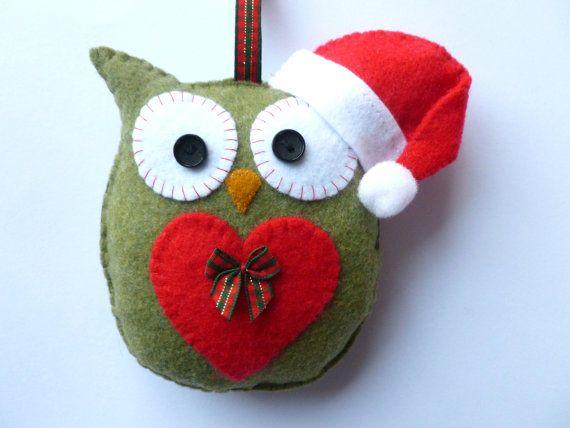 Christmas Felt Owl Hanging Decoration Handmade by SewJuneJones, £10.00