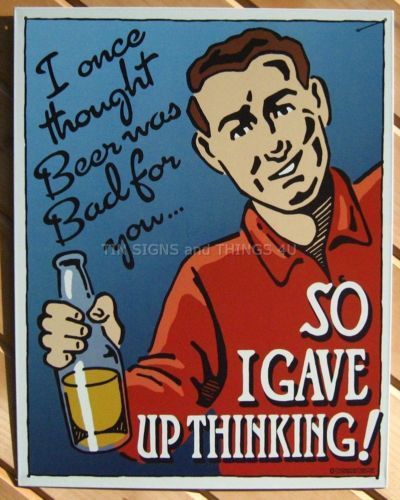 Beer Bad For You FUNNY TIN SIGN metal vtg bar decor gift alcoholic alcohol 1771