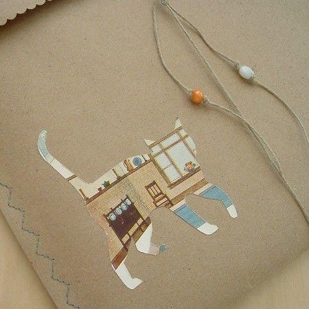 silhouet uit tijdschrift pagina/cadeau papier, dan op enveloppe of cadeau