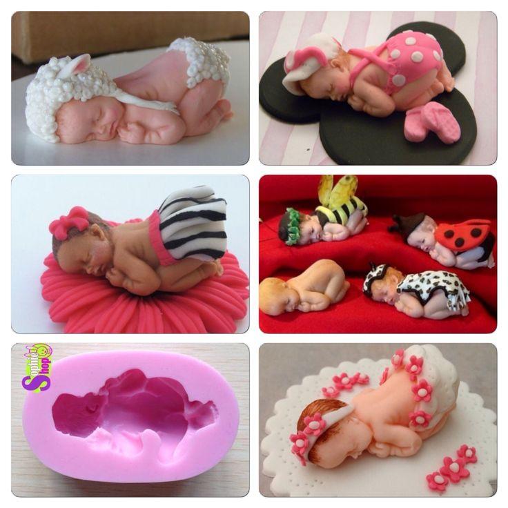 Bebes Molde de silicona de bebe Usos Fondant, pastillaje ,porcelana en frío , Baby shower