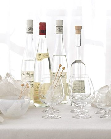 Clear fruit brandies stock the dessert bar. Replace the traditional sugar cubes with rock candy sticks.