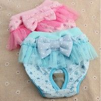 Description: Brand New Puppy Bow Sanitary Physiological Lace Pants S-XL  Item Specifics: Materi