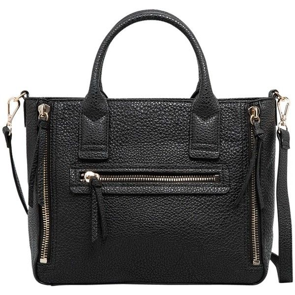 Mango Small Pebbled Tote Bag, Black (€18) ❤ liked on Polyvore featuring bags, handbags, tote bags, purses, accessories, bolsas, tote handbags, mango tote bag, tote purses and pebbled-leather handbags