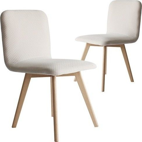 Set Of 2 Phoenix Fabric Dining Chair In Off White