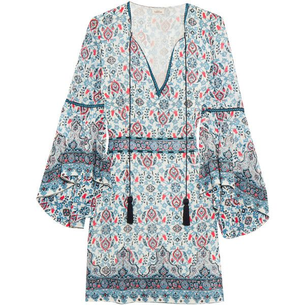 Talitha Embroidered silk-georgette mini dress found on Polyvore featuring dresses, blue, short boho dress, tassel dress, boho bell sleeve dress, boho dresses and bell sleeve dress