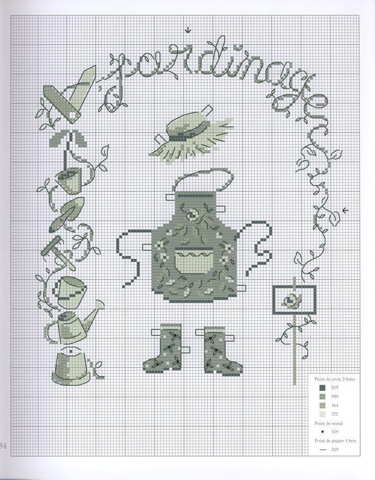 0 point de croix grille et couleurs de fils jardinage, outils tablier et bottes en caoutchouc