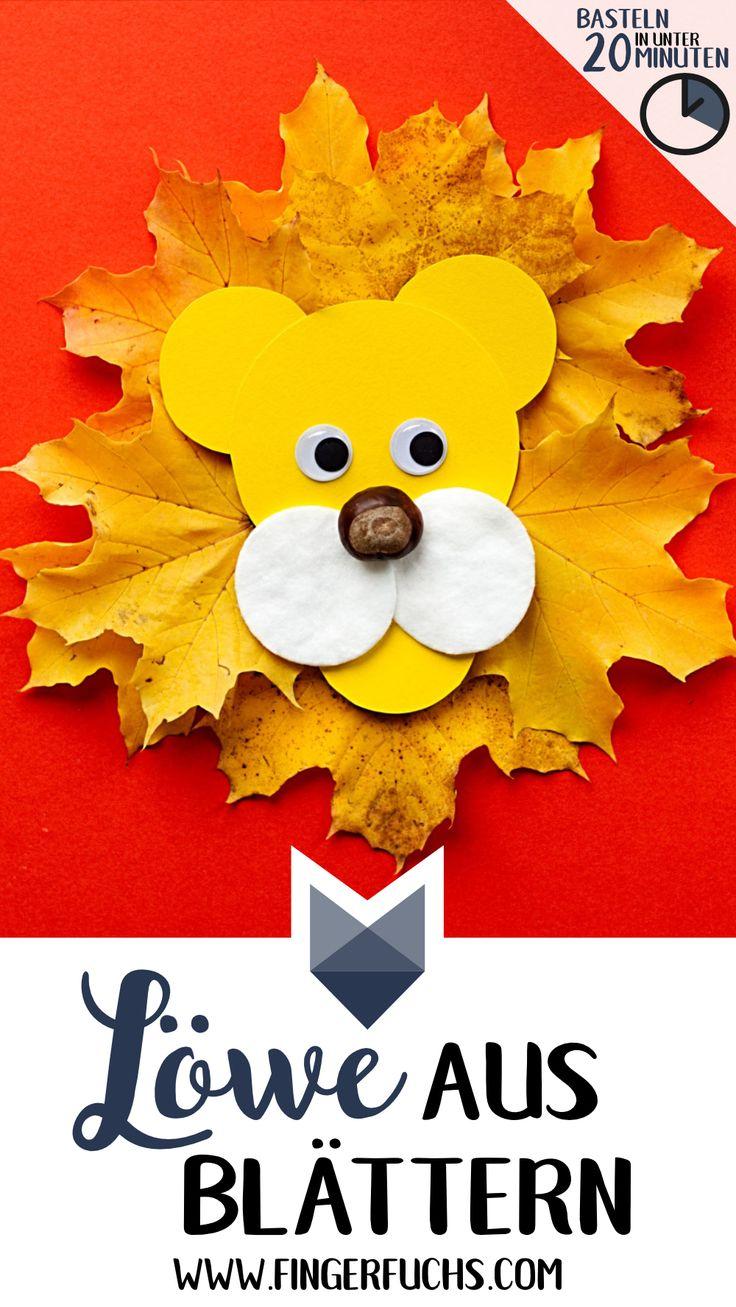 Machen Sie einen Löwen aus Herbstlaub und Kastanien. Einfach & schnell mit Ki …   – Fingerfuchs DIY – Malen und Basteln mit Kindern, Geschenke, Karten und Fingerabdrücke