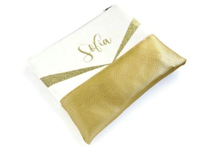Trousse à maquillage prénom personnalisée simili cuir doré et paillettes or - cadeau femme fille ado, cadeau maîtresse, cadeau : Trousses par fil-des-toiles