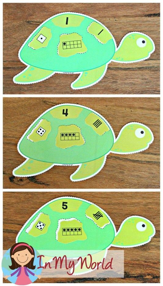 FREE Ocean Preschool Centers turtle numbers