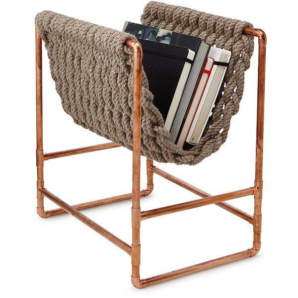 Zeitungsständer aus recyceltem Seil | Zeitschriftenhalter, Kupfer Dekor … ❤ mochte auf Pol …