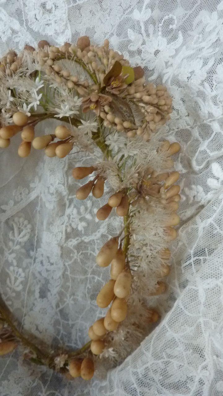 Delicious French bride's wax wedding crown tiara  19th century