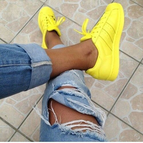 Yellow Adidas classic superstar shell. Super cute for a sporty or casual look.   <3 @benitathediva