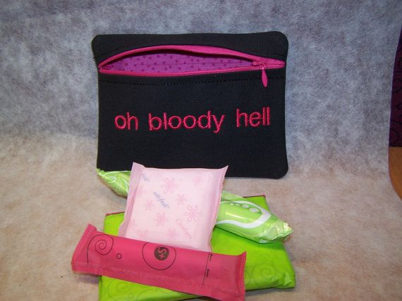Oh Bloody Hell Tampon & Maxi Pad Taxi Black and Pink Zippered Fabric Purse Pouch / Tampon Keeper on Etsy, $11.95
