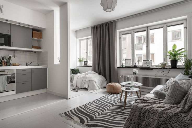 Grey studio apartment