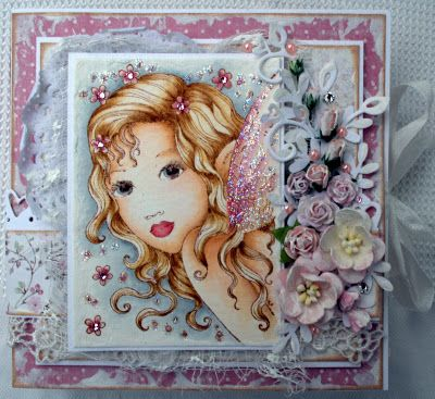Annes lille hobbykrok: Sweet Pea, Girl card, Distress Ink