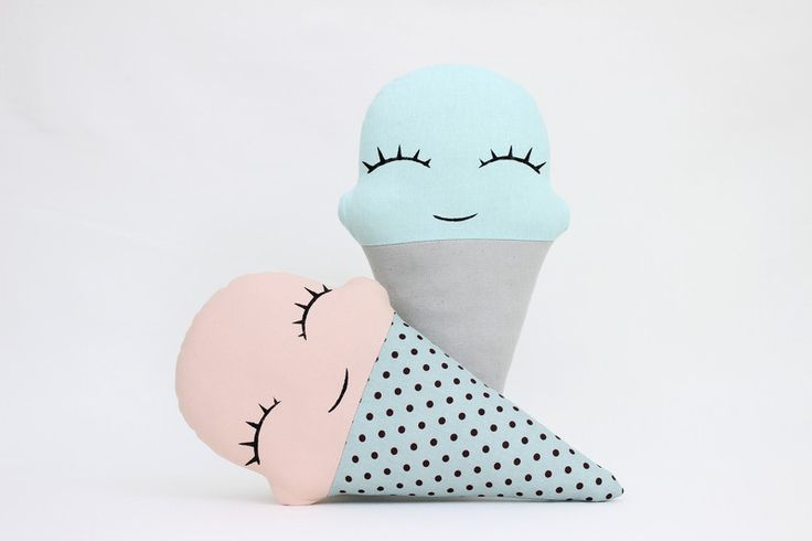 Ice Cream decorative pillow with hand painted smiling face - pink/mint. Mint/Gray Ice Cream pillow you can find here:...