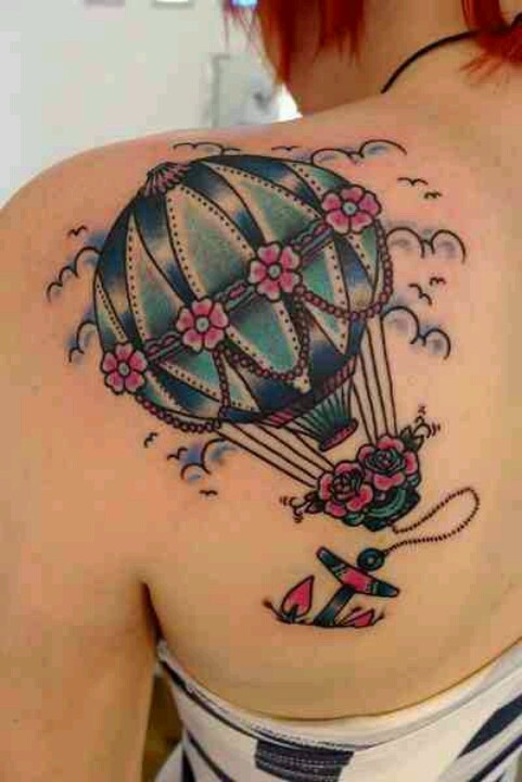 Blue hot air balloon and anchor back shoulder tattoo ...
