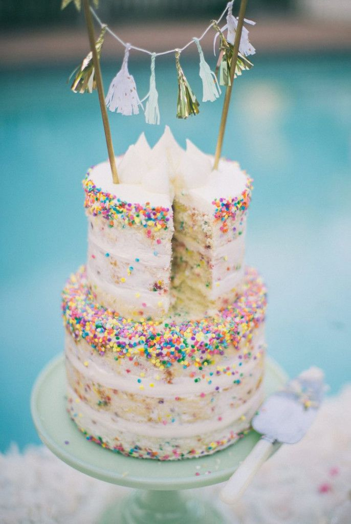 Sprinkle and Confetti Wedding Cakes That'll Put a Smile on Your Face ~ we ❤ this! moncheribridals.com #sprinkleweddingcake