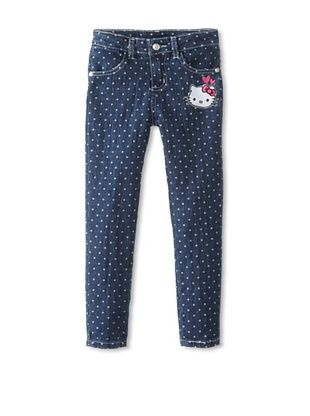 55% OFF Hello Kitty Girl's Embroidery Dot Jeans (Medium Denim)