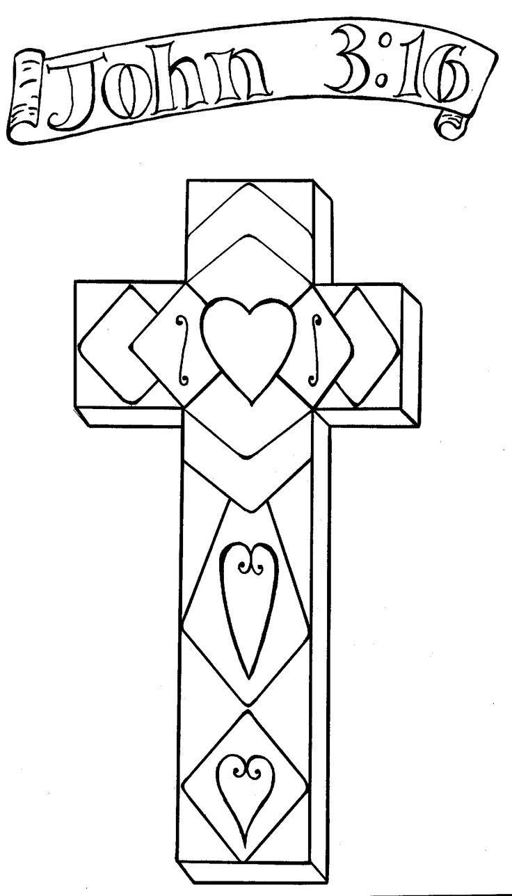 Religious colouring pages to print - Cross Coloring Pages For Easter And Teachings On Jesus Saves