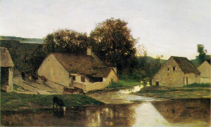 """Charles-Francois Daubigny: """"Le Hameau d'Optevoz, dans la Matinée"""", 1852"""