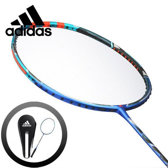 adidas Badminton Racket WUCHT P2 Blue Black Racquet String with Cover RK706511 #adidas