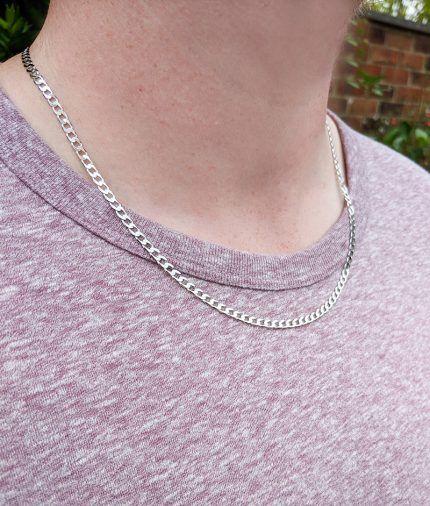 46309783a1554 Solid 9ct White Gold 3mm Diamond Cut Curb Chain 20