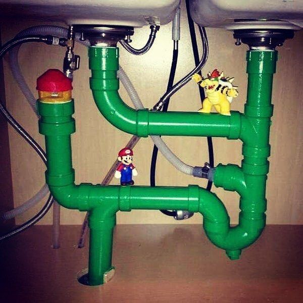 If only my stinky sink pipes looked like this!! Cool way to make fun of a boring and potentially messy situation. This would look pretty cool on a wall as well. Lets a go!!!! #mario #bowser #koopa #boss #supernintendo #supermario #supermariobros #peach #luigi #toad #bobbomb #goomba #boo #warppipe #pipe #arty #geeky #gamer #gaming #nintendo64 #nintendo3ds #nintendoswitch #ninstagram #nintendofan #fanart #mariokart #mushroomkingdom #lol #gamerlife