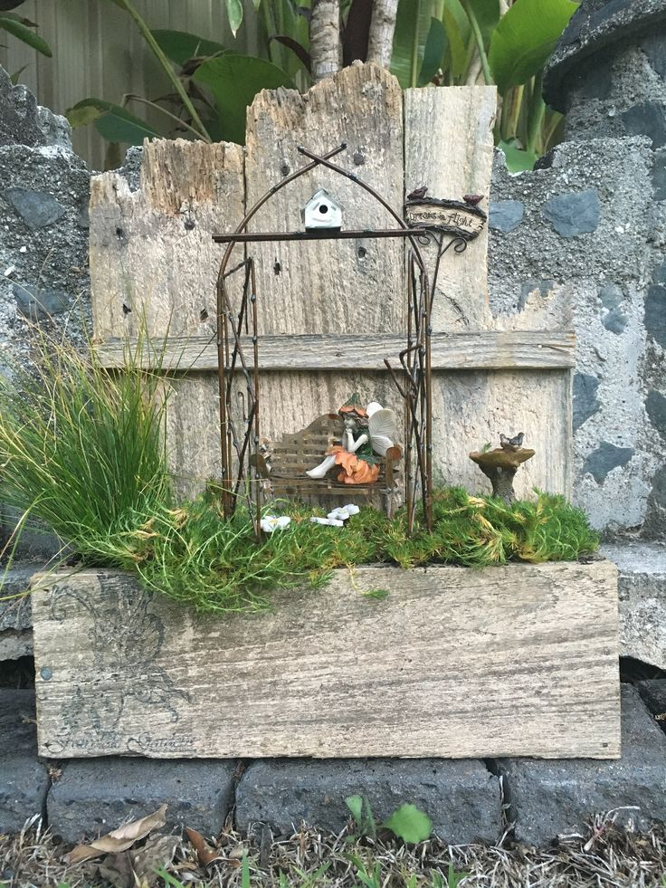 WE HAVE CREATED A LITTLE FAIRY GARDEN IN A WOODEN WINDOW BOX FOR YOU AND THE FAIRIES TO ENJOY!