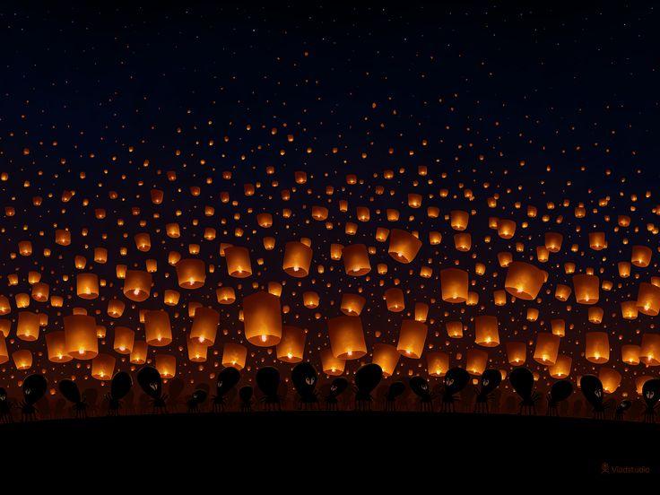 Sky Lanterns ~ http://www.vladstudio.com/wallpaper/?sky_lanterns