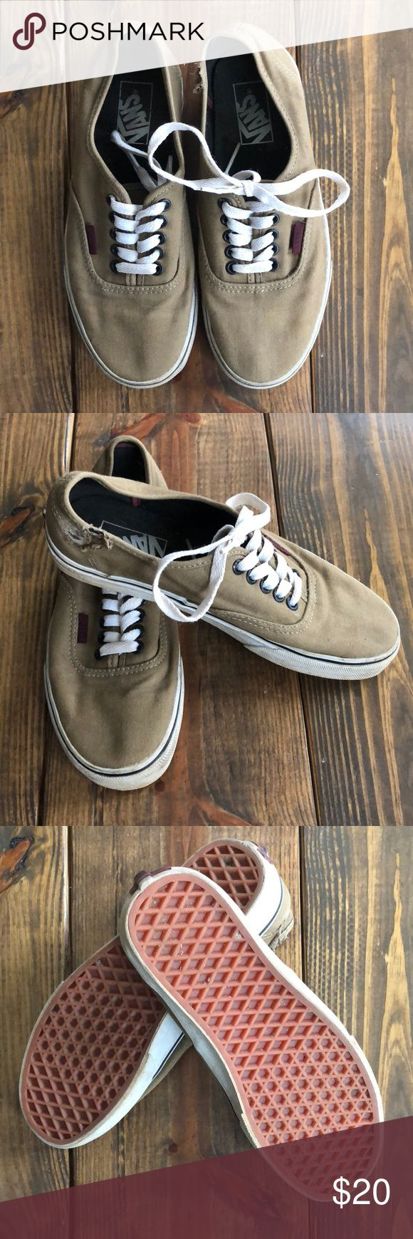 Vans sneakers in women's 8 Women's 8 Vans sneakers. Excellent condition except for scuff on left shoe near ankle where I fell off my bicycle LOL. Moving cross country and purging my closet. All offers are welcome. Medium khaki. Vans Shoes